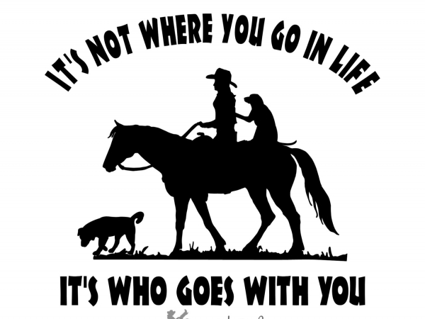 Cowgirl Riding Horse with Dogs Decal Saying Vehicle truck trailer Mirror Window