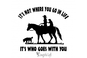 Cowgirl Riding Horse with Dogs Decal
