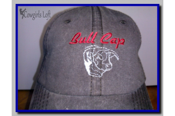 Embroidered Brown Cap BULL CAP w Bull Head front