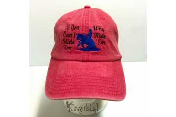 Embroidered Cap Red Washed Denim ' If You Can't Slide 'Em Why Ride 'Em front