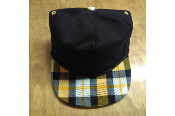 New Otto Cap Hat Black with Yellow Plaid Bill top view