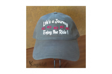 Embroidered cap Life's a Journey enjoy the ride! front