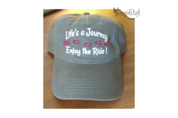 Grey Embroidered Cap - Life's a Journey  Enjoy the Ride !