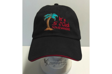Black Embroidered Cap - It's 5 O'clock Somewhere